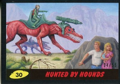 Mars Attacks The Revenge Black [55] Base Card #30 Hunted by Hounds