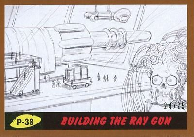 Mars Attacks The Revenge Bronze [25] Pencil Art Base Card P-38 Building the Ray