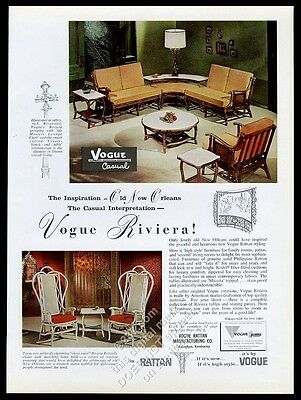 1963 Vogue rattan Casual sofa Riviera Butterfly chair photo vintage print ad
