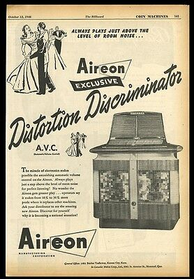 1946 Aireon jukebox photo with automatic volume control vintage trade print ad