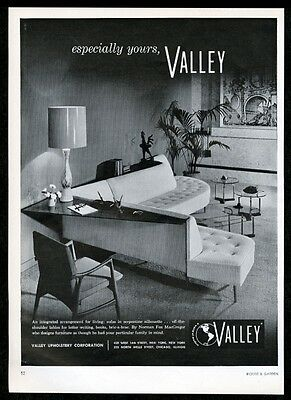 1958 Valley furniture Norman Fox MacGregor modern sofa photo vintage print ad