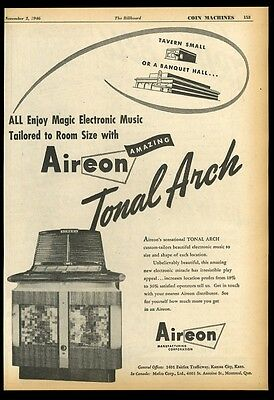1946 Aireon Tonal Arch jukebox photo vintage trade print ad