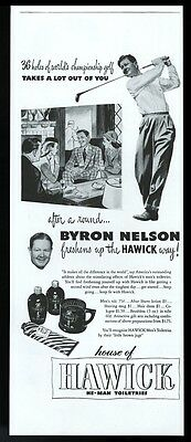 1946 Byron Nelson photo with golf club Hawick cologne talc vintage print ad