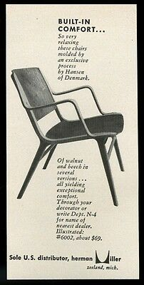 1952 Hansen of Denmark modern chair photo Herman Miller vintage print ad