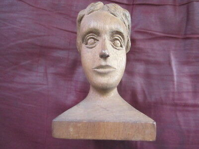 Carved 1930 Wooden Bust, Aesthetic Movement, Original Patina, Signed & Dated