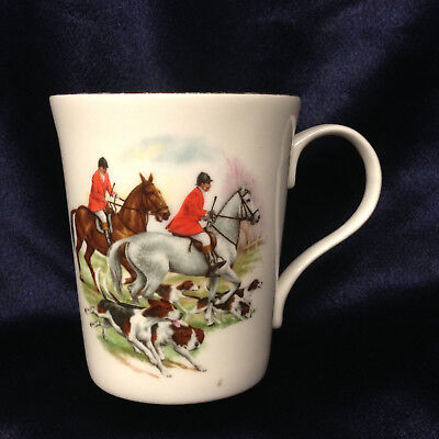 Crown Trent China Staffordshire England Fox Hunt Mug Cup 8 Oz Gold Trim Horses