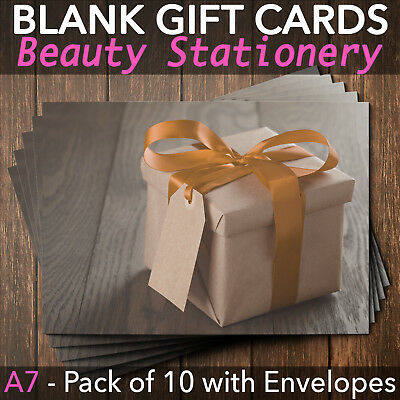 Gift Voucher Card Massage Beauty Nail Salons Hairdressers x10 FREE Envelopes BO
