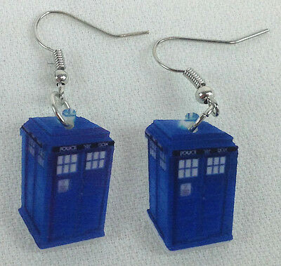 Dr Doctor Who TARDIS Print Earrings - UK Import - Brand NEW Free Shipping in US