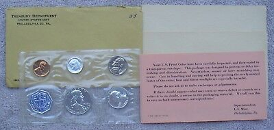 1963-P United States Treasury Department Mint 5 Piece Coins Proof Set & Papers