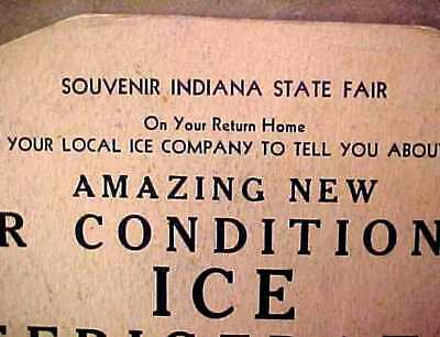 Vintage 1930s Advertising Hand Fan Indiana State Fair ICE REFRIGERATOR
