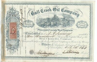 1864 Bull Creek Oil Company issued stock certificate - West Virginia