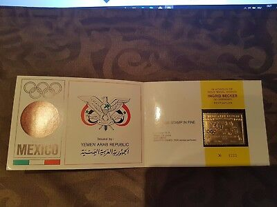 NORTH YEMEN JEMEN YAR 1968 795 Summer Olympics Mexico GOLD Folder Chariot Race