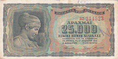 25 000 Drachmai Fine Banknote From German Occupied Greece 1943!pick-123