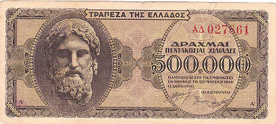 500 000 Drachmai Fine Banknote From German Occupied Greece 1943!pick-126