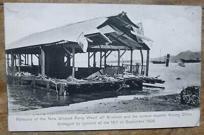 Hong Kong Kowloon Kwong Chow Typhoon 1906 Early 1900's Black and White Post card
