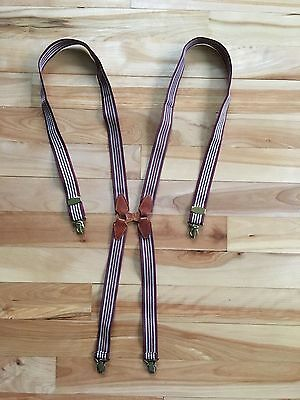 Vintage PARIS FREE-SWING Brown Striped SUSPENDERS - Leather w/ Gold Clips - 36""