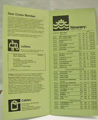 Holland America Cruise Mail/Cable Itinerary Member Rotterdam 1979 World Cruise
