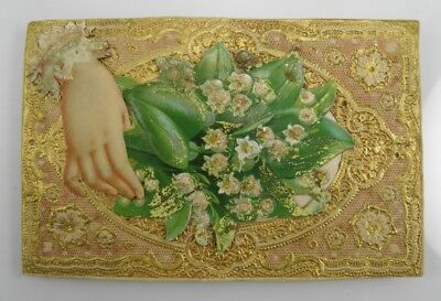 Antique Victorian paper lace & scraps greetings card A Birthday Wish #3