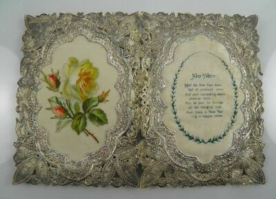 Antique Victorian paper lace & scraps greetings card New Year card #5