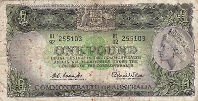 1 Pound Vg Banknote From Australia 1961-65!pick-34