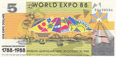 5 Dollar Aunc Expo Banknote From Australia 1988