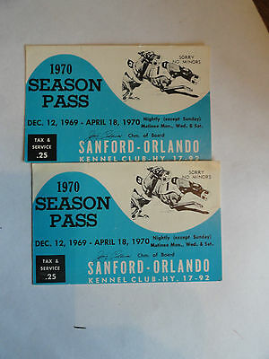 TWO 1970 Sanford-Orlando (FL) GREYHOUND Race Track Season Passes - Neat Graphics