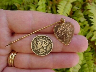 Vintage heart shaped - BRASS SCARF PIN - school merit HISTORY - charm medal hat