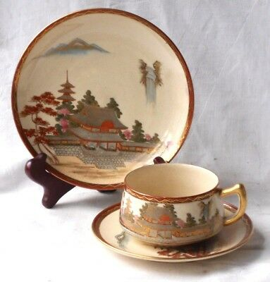 Late C19Th Japanese Hand Painted Satsuma Trio With A Scene Of A Temple