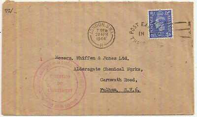 1944 KGVI 2½d FRENCH PROVISIONAL GOVERNMENT CACHET WW2->WHIFFEN CHEMICALS