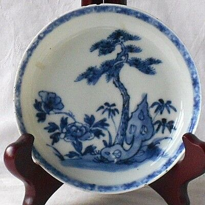 C18Th Chinese Blue And White Dish With Border Flowers And Willow Tree