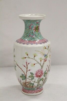 Old Chinese Porcelain Birds Blossoms Rock Branches Famille Rose Vase WOW