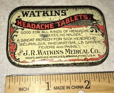 Antique Watkins Medical Remedy Headache Medicine Tablet Tin Litho Can Winona Mn