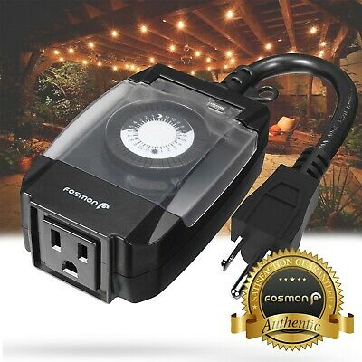 [ETL Listed] 24 Hour Outdoor Outlet Timer Weatherproof Automatic Switch Light