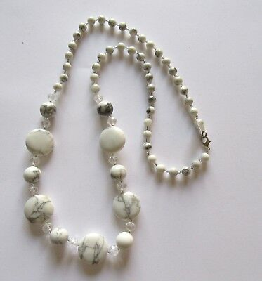 Fashion Necklace -White Marble beads with gray- clear beads - 28 inches long