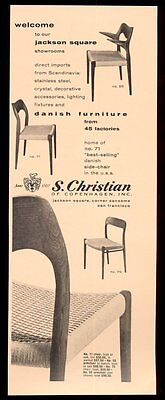 1960 S Christian of Copenhagen modern Danish chair 3 styles photo print ad