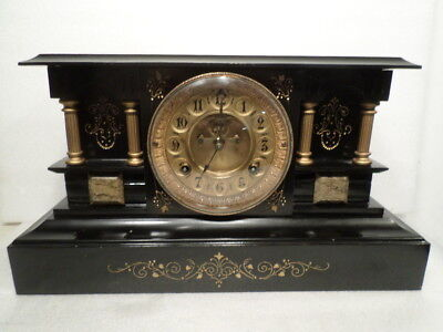 Waterbury Cast Iron Mantle Clock with Unusual Full Columns 1881