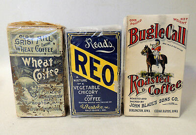 3 Lot NOS Antique vtg Paper COFFEE Box Bag 2 FULL Victorian Package, not tin