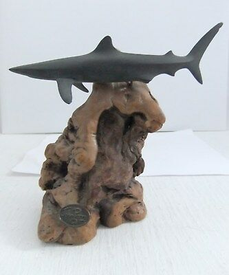 Black Shark And Wood Sculpture Figurine By John Perry