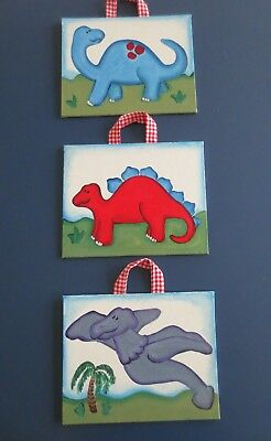 Dinosaur Pictures Painted to Match POTTERY BARN Super Saurus Decor Wall Hangings