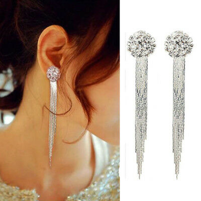 Fashion Women Silver Crystal Tassle Ear Stud Dangle Drop Earrings Bridal Jewelry