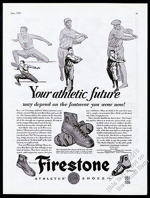1929 Firestone rubber footwear athletic shoes illustrated vintage print ad