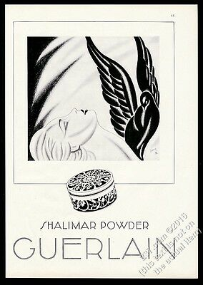 1932 Guerlain Shalimar powder woman and bird Jacques Darcy art vintage print ad