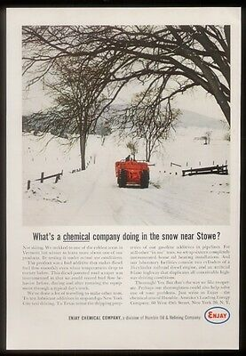 1964 Stowe Vermont winter photo Enjay chemical Humble oil vintage print ad