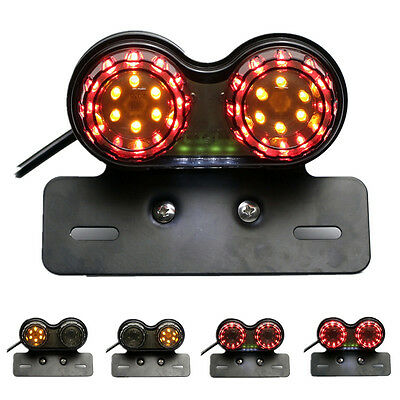 Smoke LED License Plate Brake Tail Turn Signal Light For Bobber Cafe Racer ATV