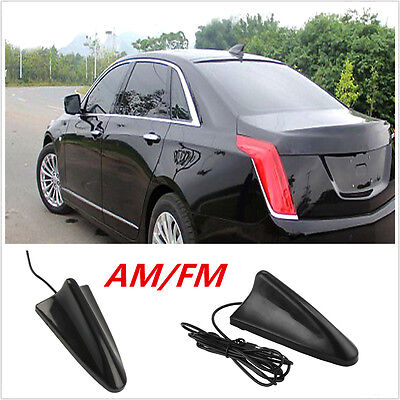CAR ROOF RADIO AM/FM Signal Booster Shark Fin Aerial Antenna Decoration  Black