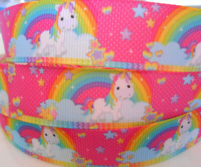 "2yds 5yds PINK RAINBOW UNICORN Grosgrain Ribbon 7/8"" 22mm Clip Cake Craft"