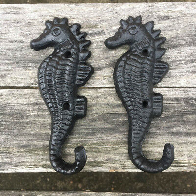 5 Pcs Hippocampus Style Cast Iron Wall Coat Hooks Hat Hook Hall Tree Black