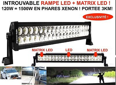 Rampe Barre Phare Led + Matrix Led 120W Portee 3Km! Land Pajero Patrol Jeep Hdj
