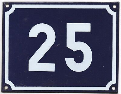 Large old blue French house number 25 door gate plate plaque enamel steel sign