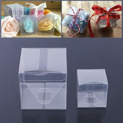 10 Pcs Wedding Transparent Cube Favour Boxes Sweet Candy Cake Gift Bags 2 Sizes